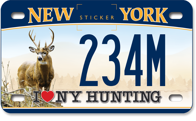 I Love NY Hunting - Deer custom motorcycle plate