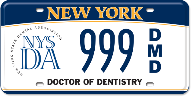 NYS Dental Association DMD custom plate
