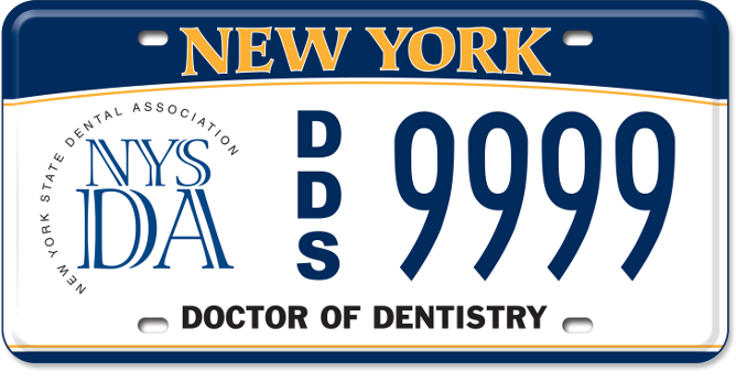 NYS Dental Association DDS custom plate