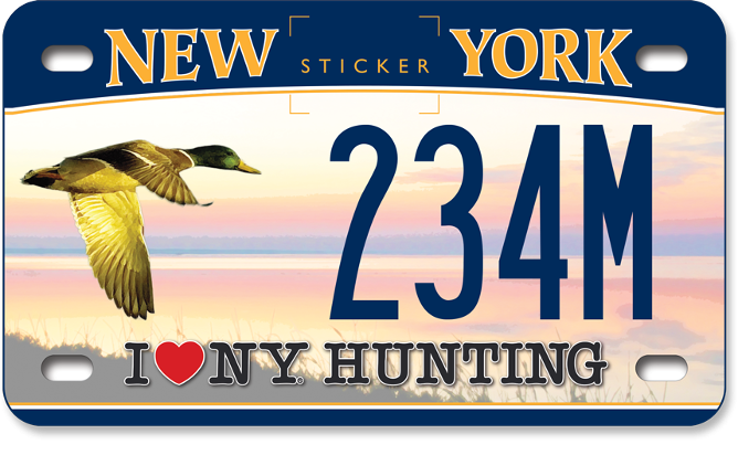 I Love NY Hunting - Duck custom motorcycle plate
