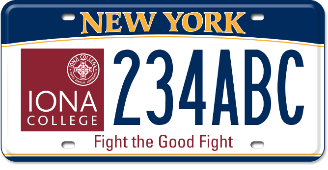 Iona College custom plate