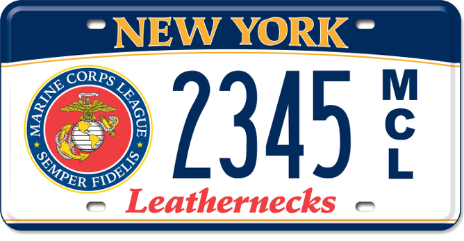 Marine Corps League vehicle custom plate
