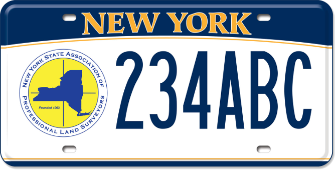 NYS Association of Land Surveyors custom plate