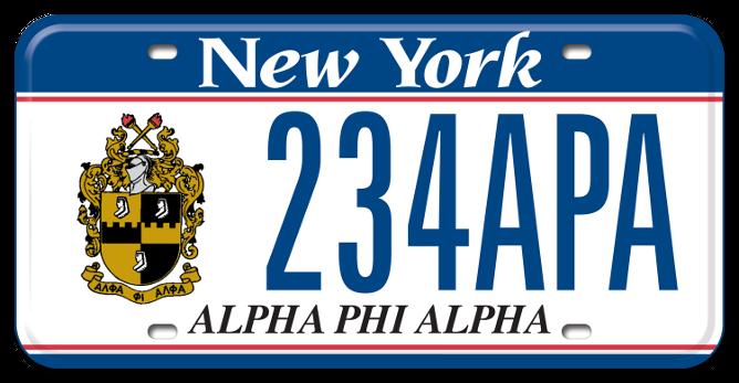 Alpha Phi Alpha custom plate