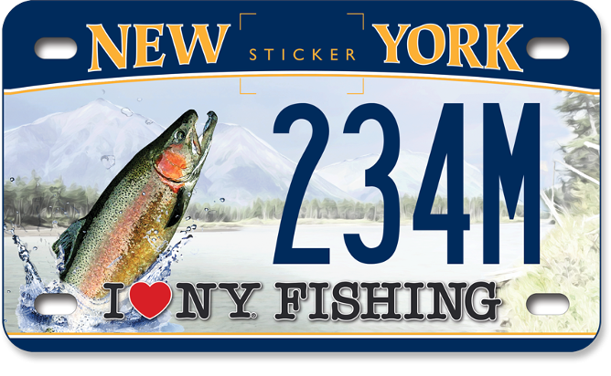 I love NY Fishing - Trout motorcycle custom plate