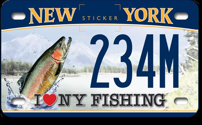 I love NY Fishing - Trout motorcycle custom plate