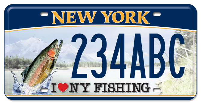 I Love NY Fishing - Trout custom plate