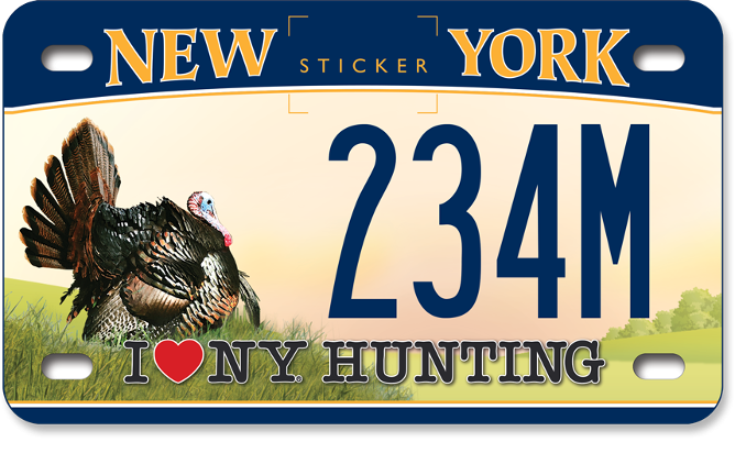 I Love NY Hunting - Turkey custom motorcycle plate