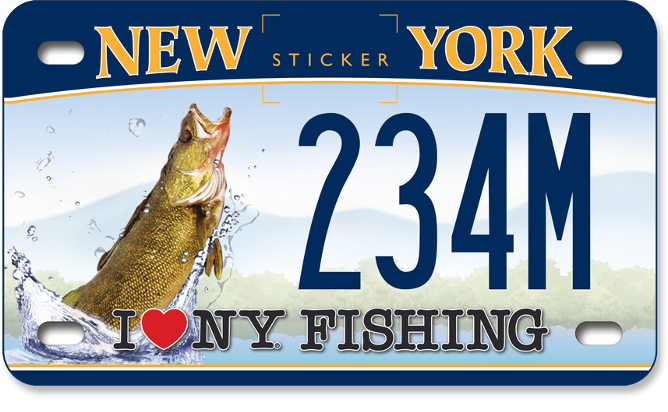 I Love NY Fishing - Walleye custom motorcycle plate
