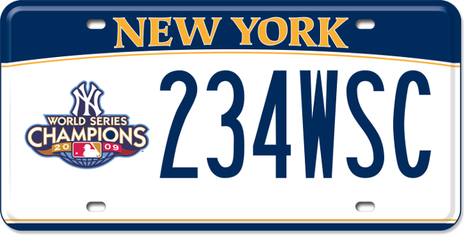 Image of a Yankees World Series Champions 2009 custom plate