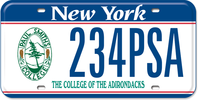 Paul Smith's College custom plate