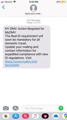 Example of a phishing scam text