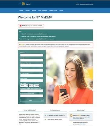Phishing scam image using MyDMV heading