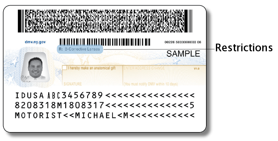 Driver License - Back with restrictions area highlighted