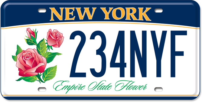 Rose - Empire State Flower custom plate