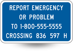 railroad emergency contact information sign