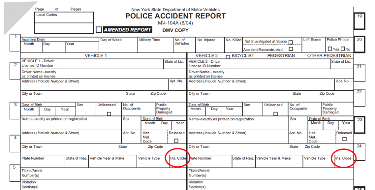 Sample MV 104A With Location Of 3 Digit Insurance Code Circled  Mock Police Report