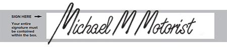 Example of a 'bad' signature that goes outside of the box.