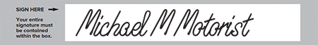 Example of a 'good' signature that does not go outside of the box.