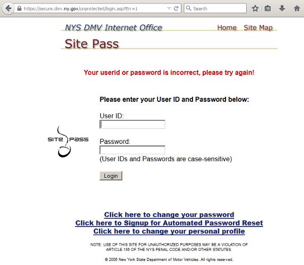 My LogOn | New York State of Opportunity Department of Motor Vehicles