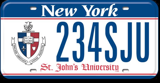 St. John's University custom plate