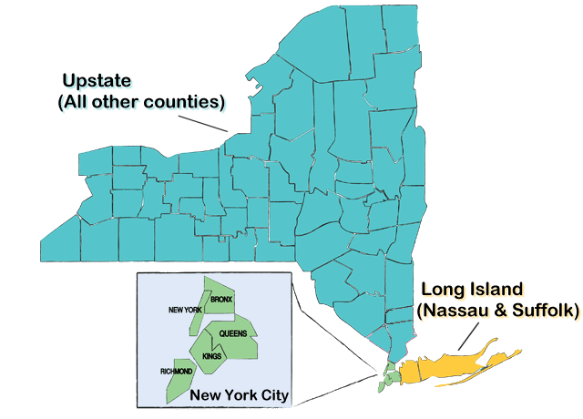 NYS map showing regional restrictions