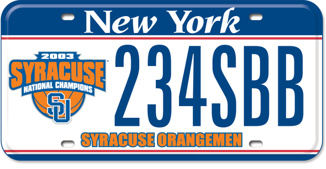 Syracuse University National Champions custom plate