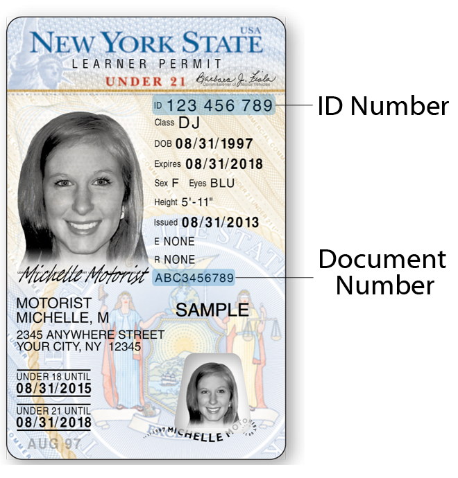 Image of front of current NYS Under 21 Learner Permit.  ID number is in the upper right section, before 1/28/2014 the Document number is in the lower right section.