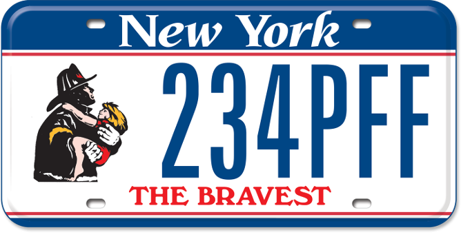 Uniformed Firefighter custom plate with The Bravest tagline