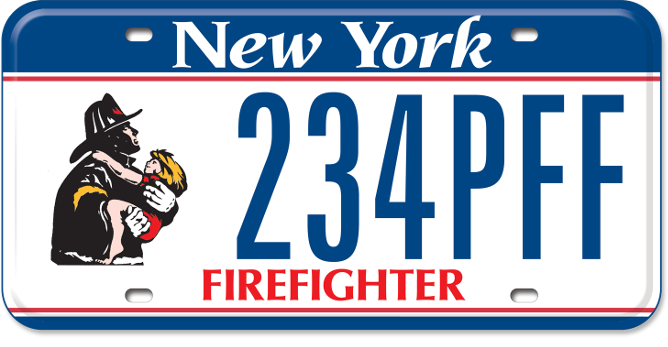 Uniformed Firefighter custom plate with Firefighter tagline