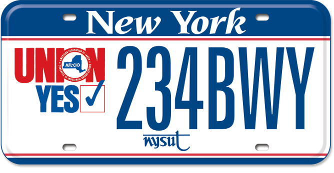 Union Yes - NYSUT custom plate