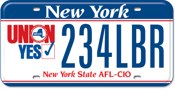 Unions Yes - NYS AFL-CIO custom plate