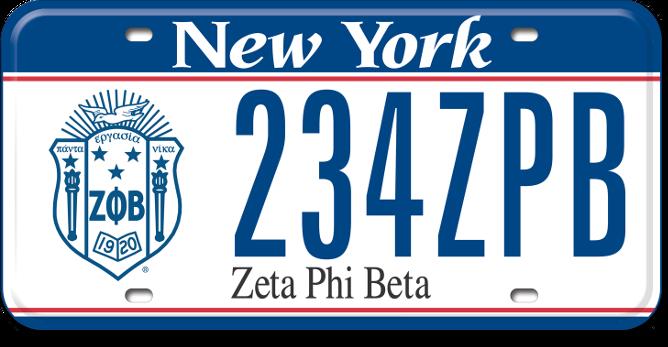 Zeta Phi Beta custom plate