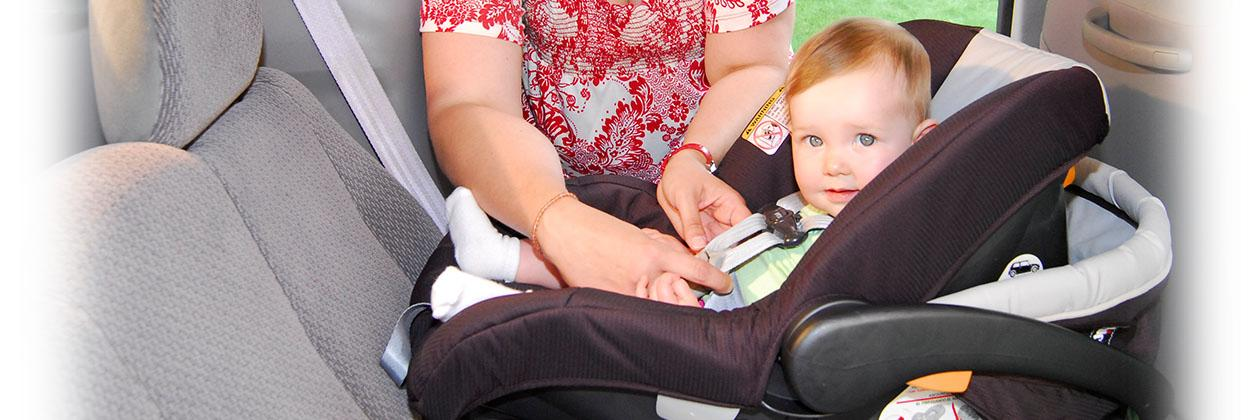 child in car seat for vehicle safety week